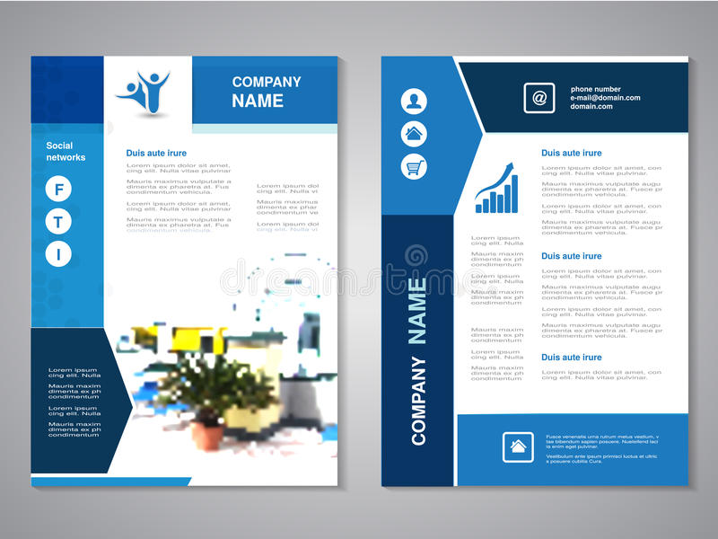Modern brochure, abstract flyer with background of house interier. Layout template. Poster of yellow, dark blue, black and white c vector illustration