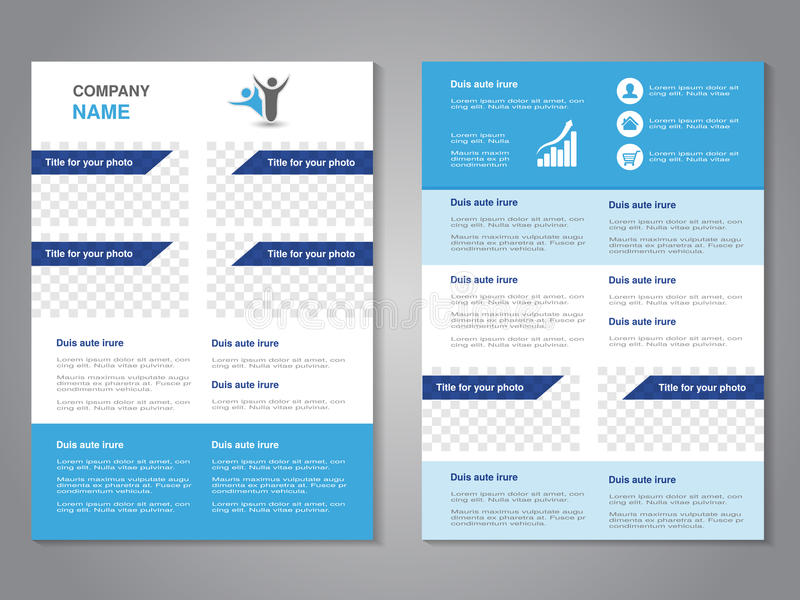 Modern brochure, abstract flyer, simple design with blank places for your rectangle photos or images. Layout template. Aspect stock illustration