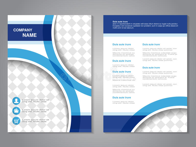 Modern brochure, abstract flyer, simple design with parts of circles for your photos or images. Layout template. Aspect Ratio for. A4 size. Poster of blue, dark vector illustration