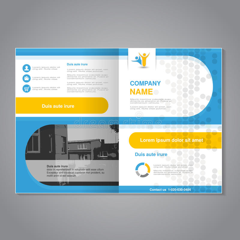 Modern brochure, abstract flyer, simple dotted design with background of monochrome buildings. Layout template. Aspect Ratio for. A4 size. Poster of blue royalty free illustration