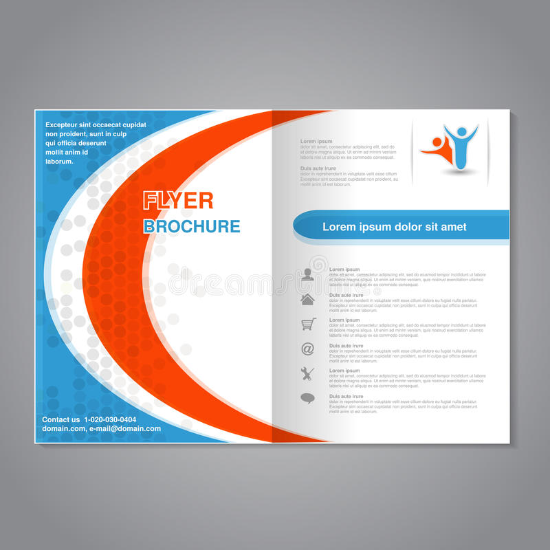 Modern brochure, abstract flyer with simple dotted design. Layout template with circular element. Aspect Ratio for A4 size. Poster. Of blue, orange, grey and stock illustration