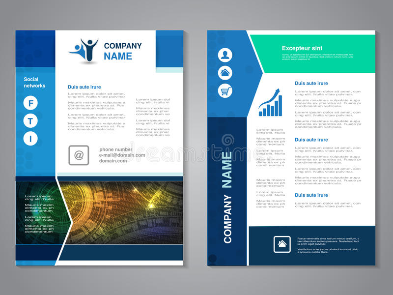 Modern brochure with arrow design, abstract flyer with technology background. Layout template. Aspect Ratio for A4 size. Poster of. Blue, yellow, green and stock illustration