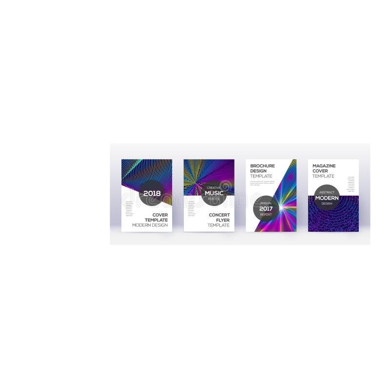 Modern brochure design template set. Rainbow abstr. Act lines on dark blue background. Beauteous brochure design. Comely catalog, poster, book template etc stock illustration