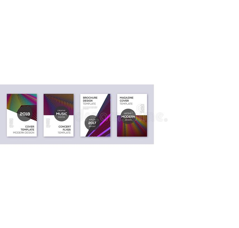 Modern brochure design template set. Rainbow abstr. Act lines on wine red background. Beauteous brochure design. Enchanting catalog, poster, book template etc vector illustration