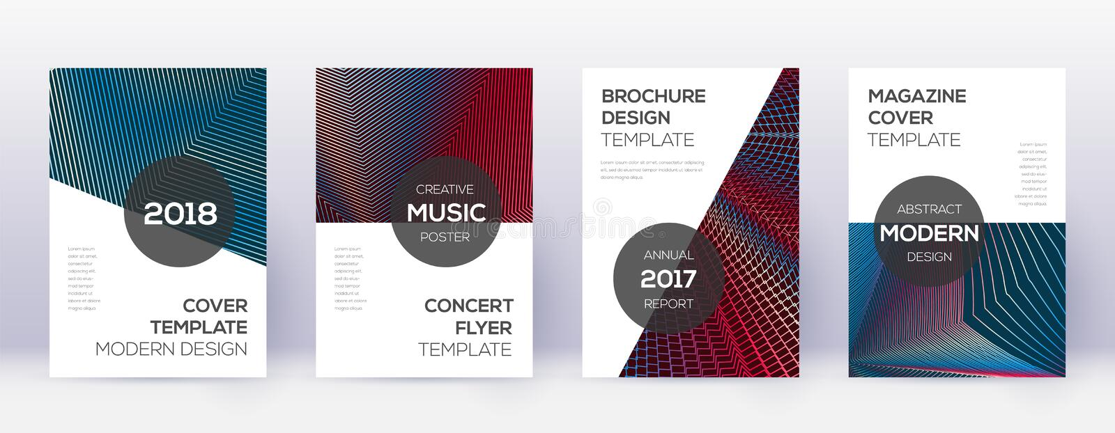 Modern brochure design template set. Red abstract. Lines on white blue background. Beauteous brochure design. Mesmeric catalog, poster, book template etc royalty free illustration