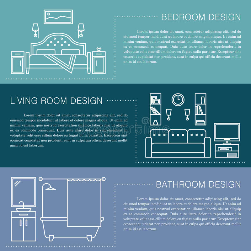 Download Modern Brochure Flyer Design Template With Line Interior Icons.  Bedroom, Living Room,