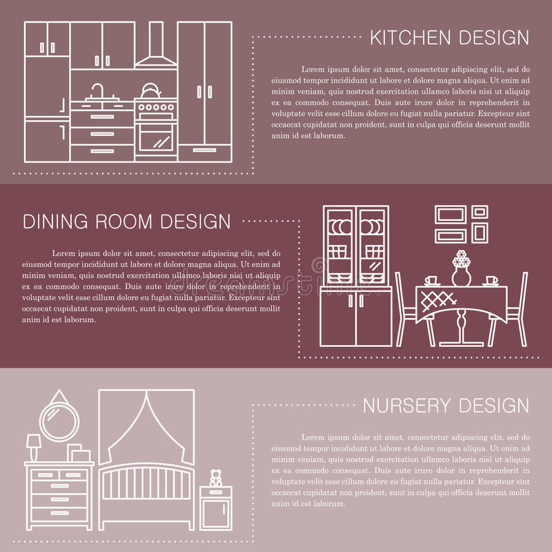 Modern brochure flyer design template with line interior icons. Kitchen, dining room, nursery vector illustrations royalty free illustration