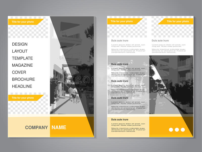 Modern brochure with triangle design, abstract flyer with background of monochrome city street. Layout template. Aspect Ratio for. A4 size. Poster of yellow stock illustration