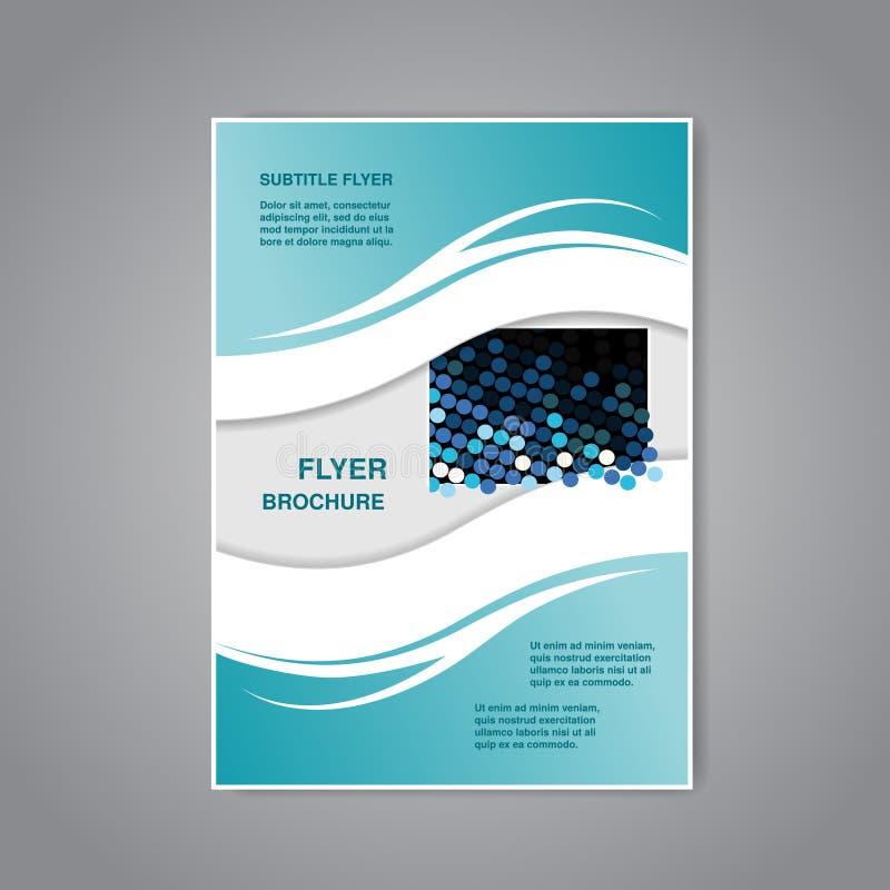 Modern broschyr, abstrakt reklamblad eller bok med vågdesign, affisch, orienteringsmall, tidskrifträkning vektor illustrationer