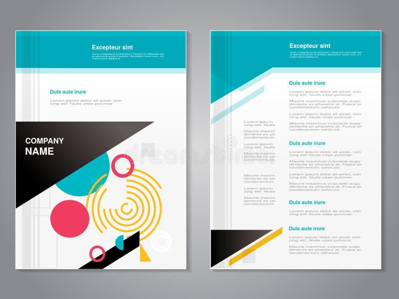Modern broschyr för vektor med abstrakt geometrisk design, abstrakt reklamblad med teknologibakgrund affisch Tidskrifträkning royaltyfri illustrationer