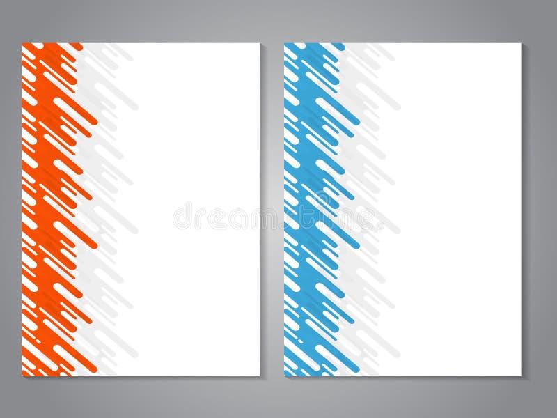 Modern broschyr för vektor med den orange och blåa designen, abstrakt reklamblad med teknologivågbakgrund Orienteringsmall Aspekt stock illustrationer