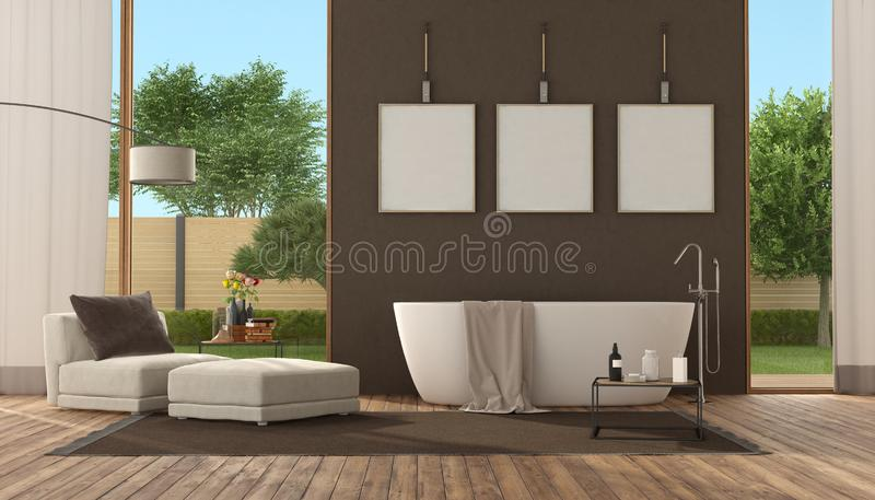 Modern brown bathroom with bathtub vector illustration