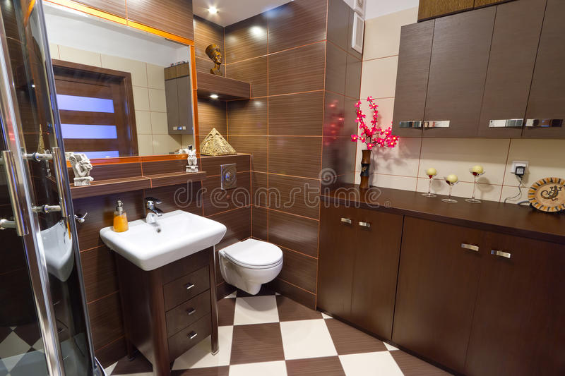 Download Modern Brown Bathroom Interior Stock Image - Image: 26412377