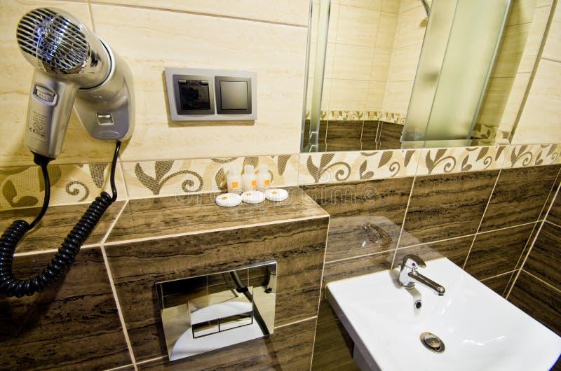Modern brown bathroom stock images