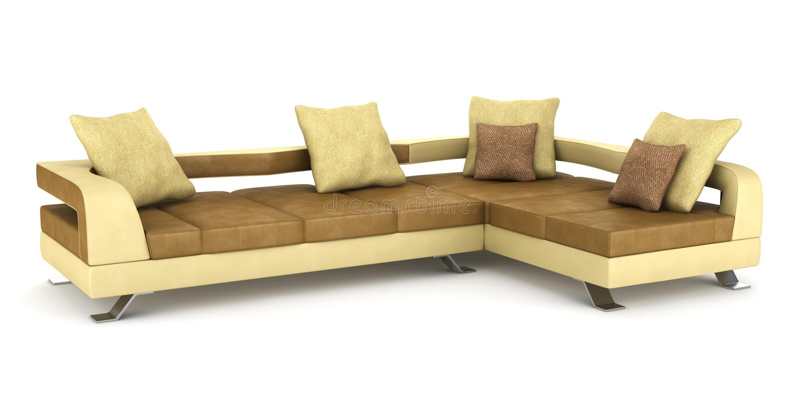 Modern brown couch with pillows isolated stock photo