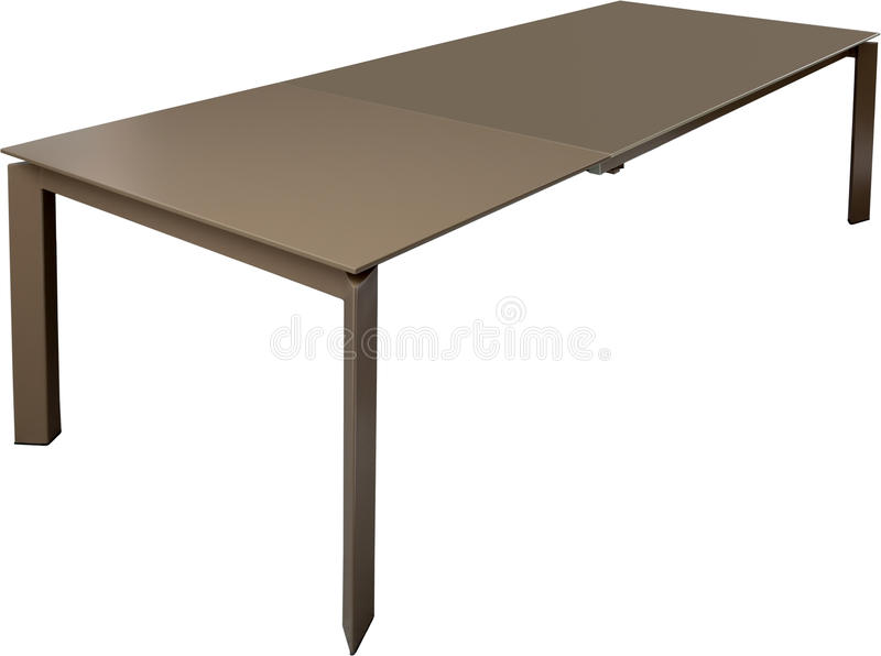 Modern brown dinning table. Modern designer, Sliding table isolated on white background. Series of furniture. Modern brown dinning table. Modern designer royalty free stock photography