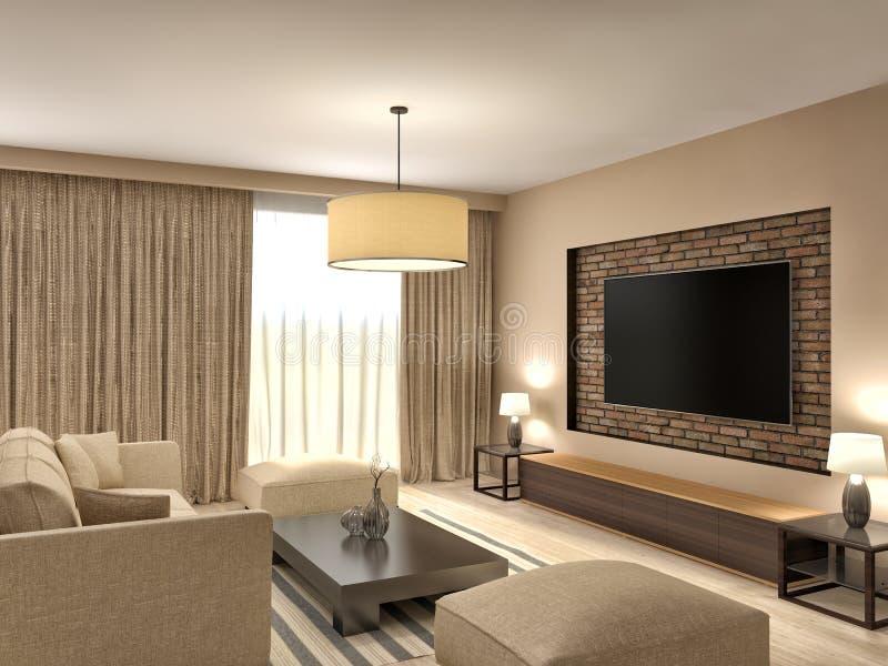 Modern Brown Living Room Interior Design. 3d Illustration Stock ...