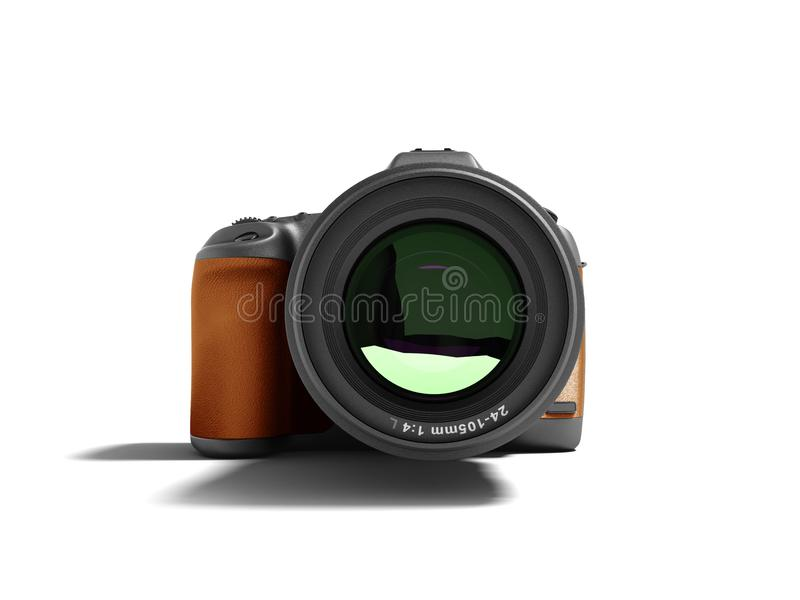 Modern brown professional camera for nature photography front 3d rendering not white background with shadow royalty free illustration