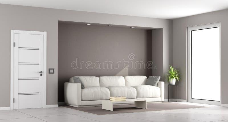 Modern brun vardagsrum stock illustrationer