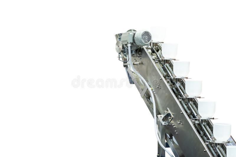 Modern buckets chain or bowl commercial conveyor cup feeder for material transport industrial isolated on white background with royalty free stock image