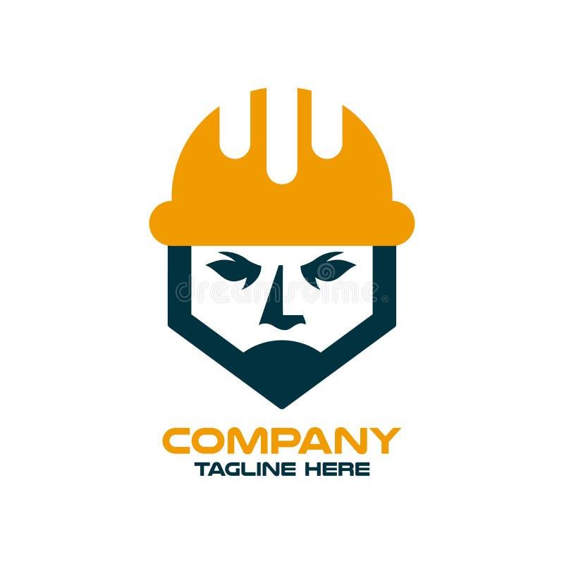 Modern builder and architect in a construction helmet logo. stock illustration