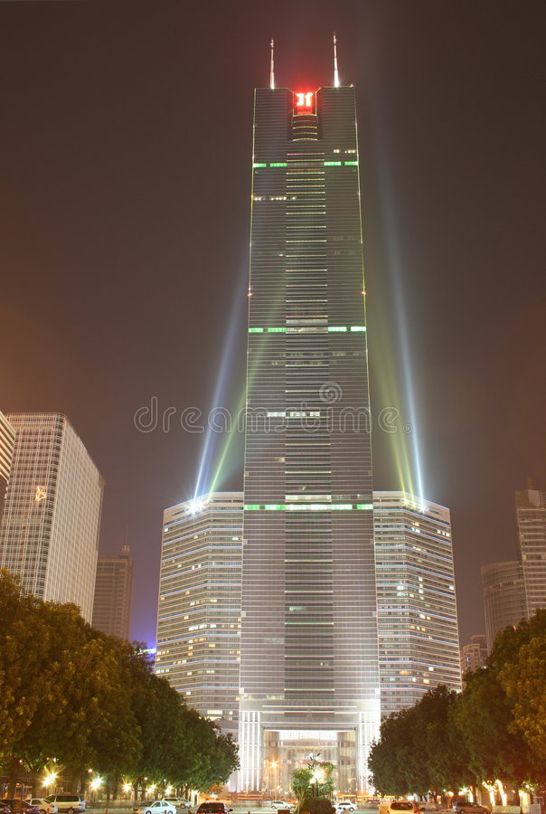 Modern building. Nightshot of a modern building in china royalty free stock photo