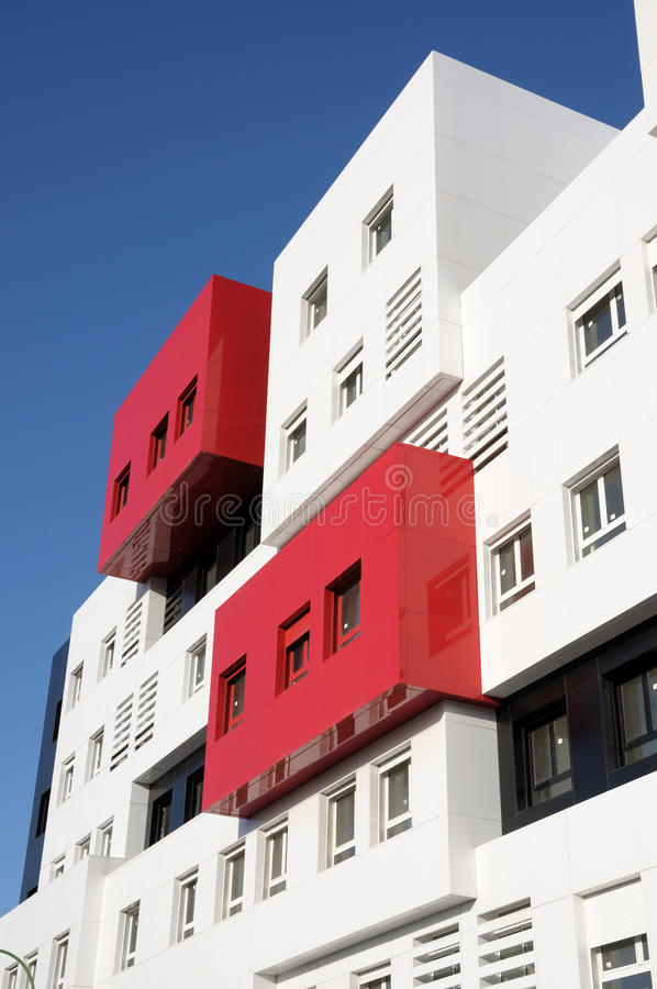 Modern Building. Modern Red and White Residential Building stock photography