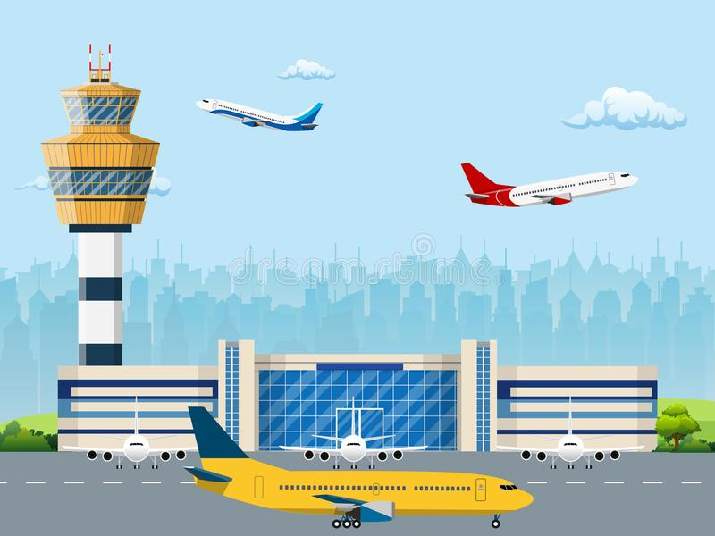 Modern building of airport terminal stock illustration