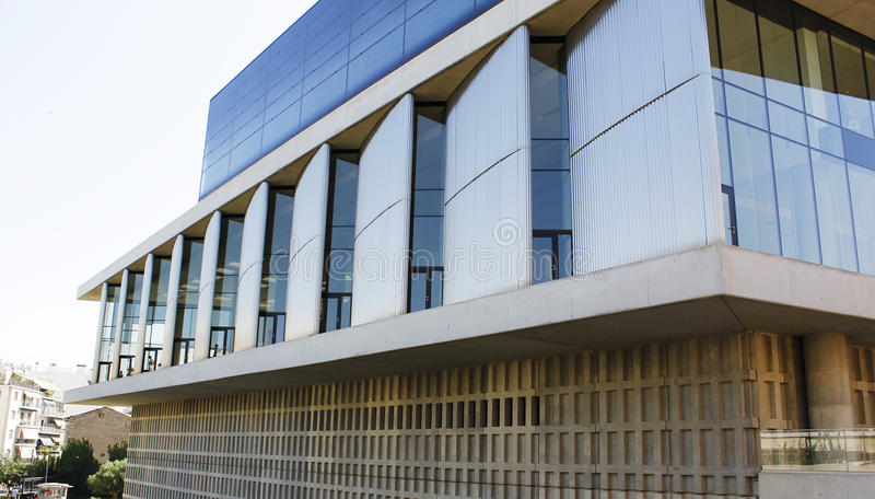 Modern building architecture angled windows stock images
