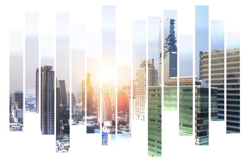 The modern building of Asia Business financial district and commercial in bangkok thailand on Abstract city view Backgorund royalty free stock photography