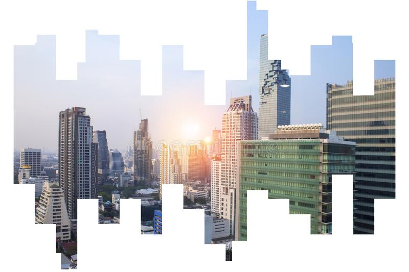The modern building of Asia Business financial district and commercial in bangkok thailandon on Abstract city view Backgorund stock photos