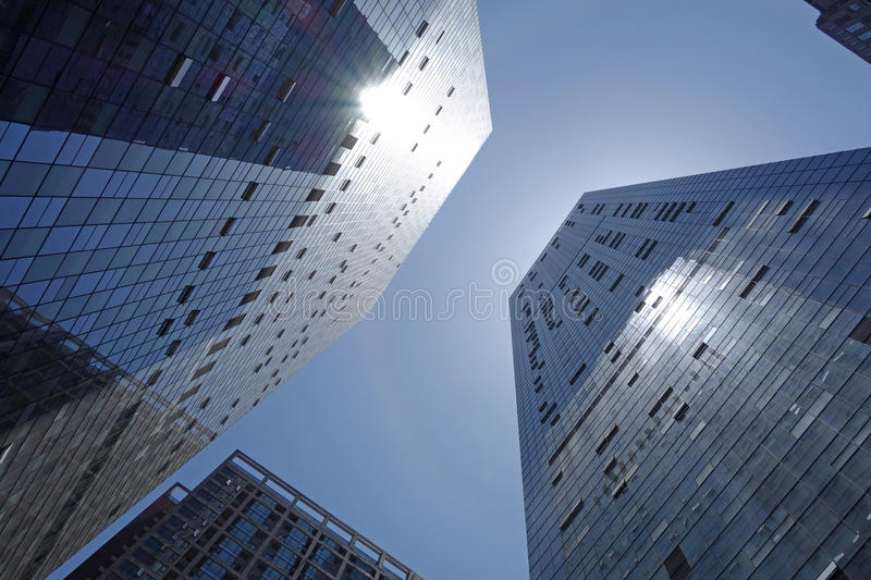 Modern building on the backlight royalty free stock photography