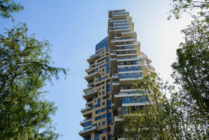 Modern building in blue sky at sunny winter noon. Chengdu,China royalty free stock photo