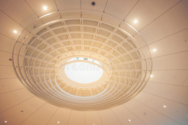 Modern building ceiling geometry roof of a mall stock photography