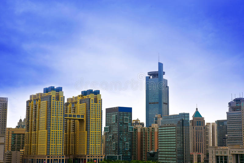 Modern building in city. Naning China modern buildings , Downtown, skyscrapers stock image