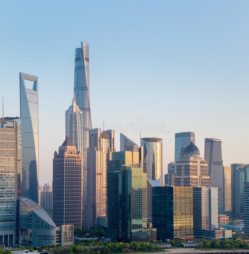 Modern building closeup in shanghai at dusk. Modern building closeup in shanghai financial center , high angle view at dusk stock photography