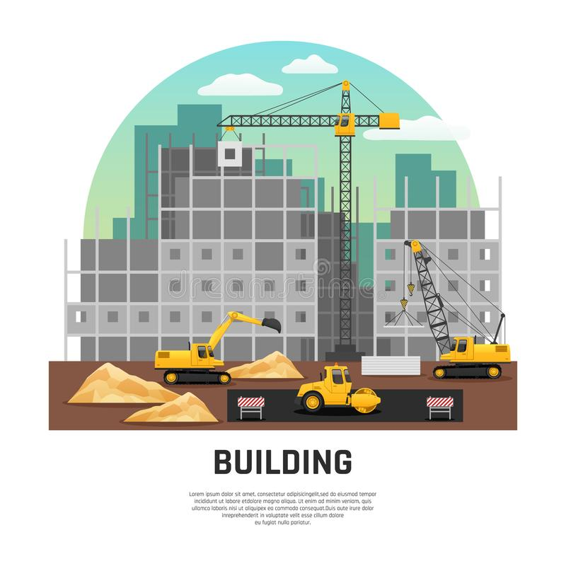 Building Construction Machinery Flat Composition stock illustration