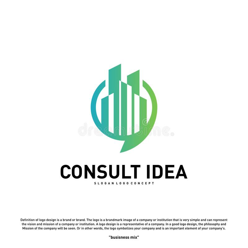 Modern Building Consulting Agency logo design template. Modern City Chat logo concept.  royalty free illustration