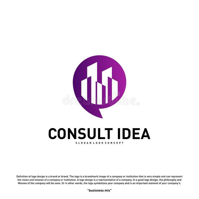 Modern Building Consulting Agency logo design template. Modern City Chat logo concept.  stock illustration
