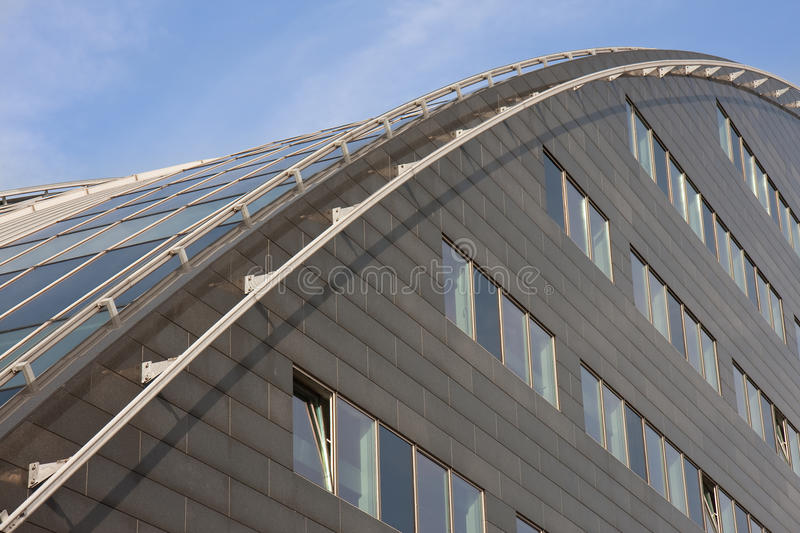 Modern Building With Curved Roof Of Glass Royalty Free