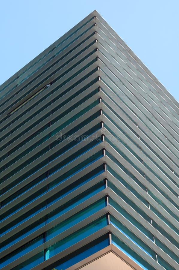 Modern building detail. Against blue sky stock photo
