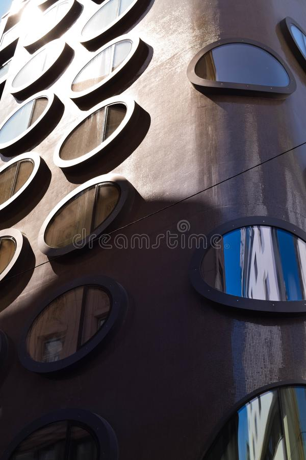 Modern building detail. Windows rounded stock image