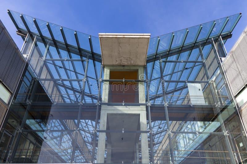 Modern building exterior. Againsst blue sky stock photos