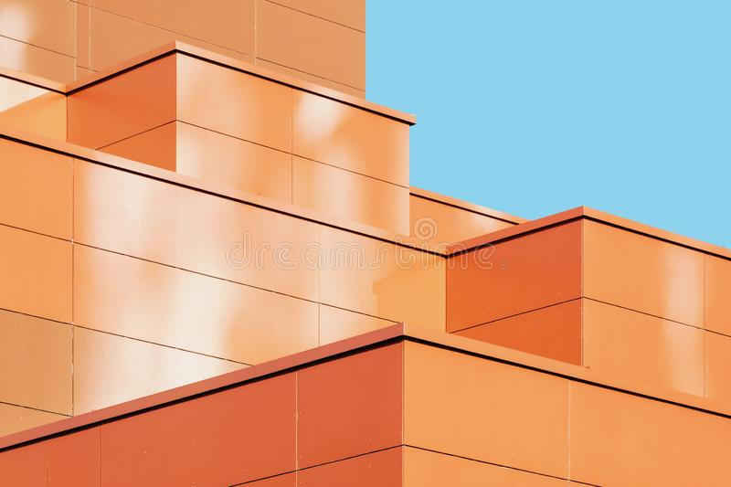 Modern abstract building facade shape details stock photography