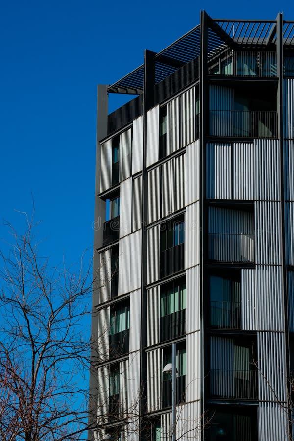 Modern building facade at Euskadi Square stock photos