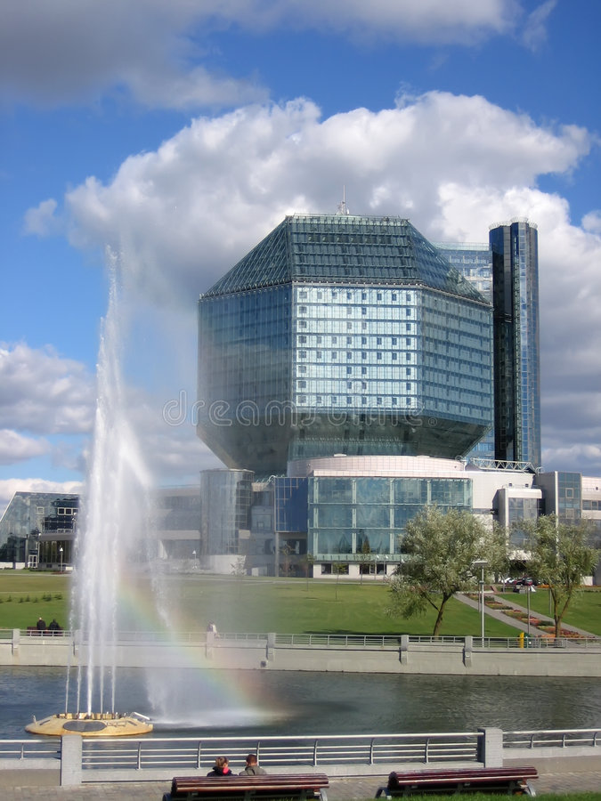Modern building with fountain royalty free stock photo
