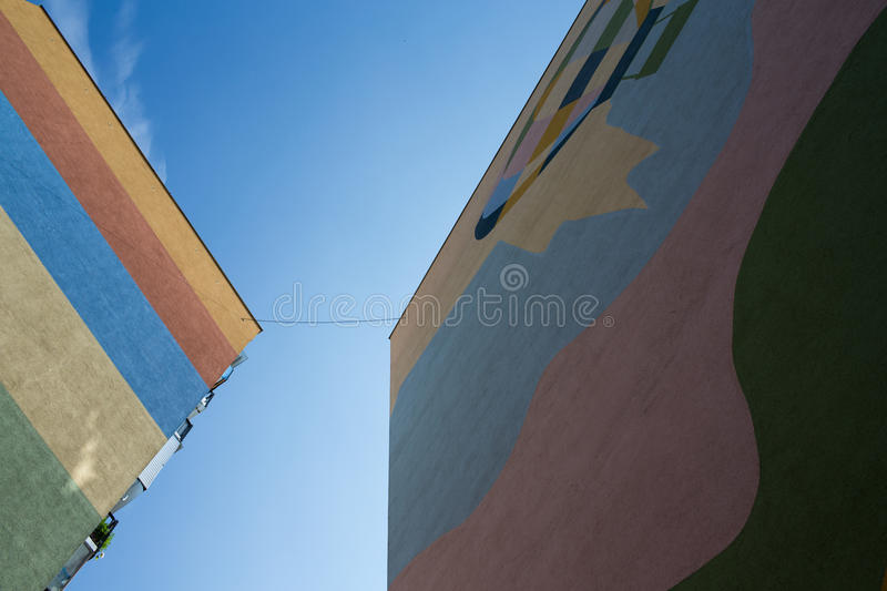 Modern building. Modern building in frog perspective. Gdansk, Poland royalty free stock photos