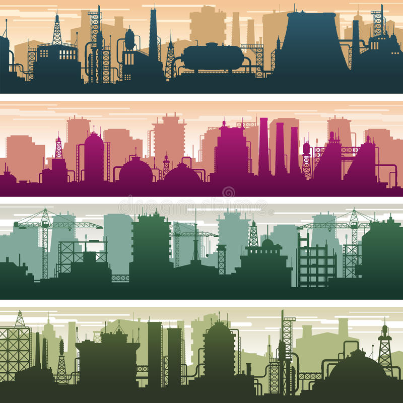 Modern building of gas and oil station, power plant and factory silhouettes. Industry landscapes vector set vector illustration