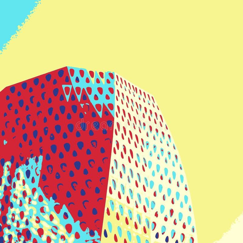Modern building detail in pop art style vector illustration