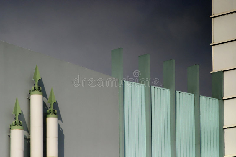 Modern building with gray sky stock images